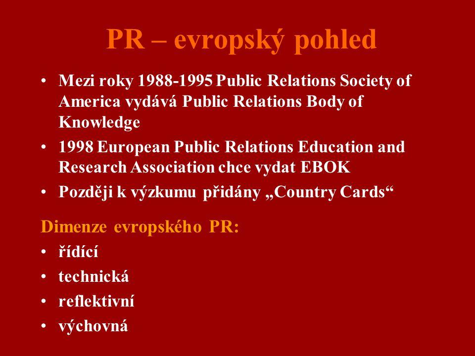 PR – evropský pohled Dimenze evropského PR:
