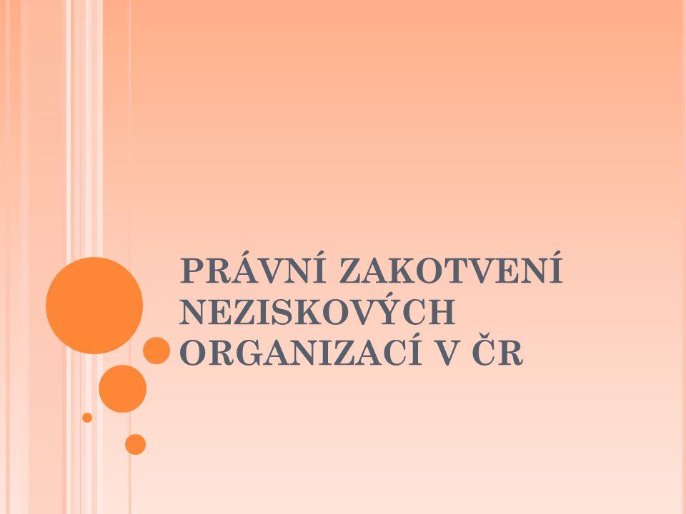 PRÁVNÍ ZAKOTVENÍ NEZISKOVÝCH ORGANIZACÍ V ČR