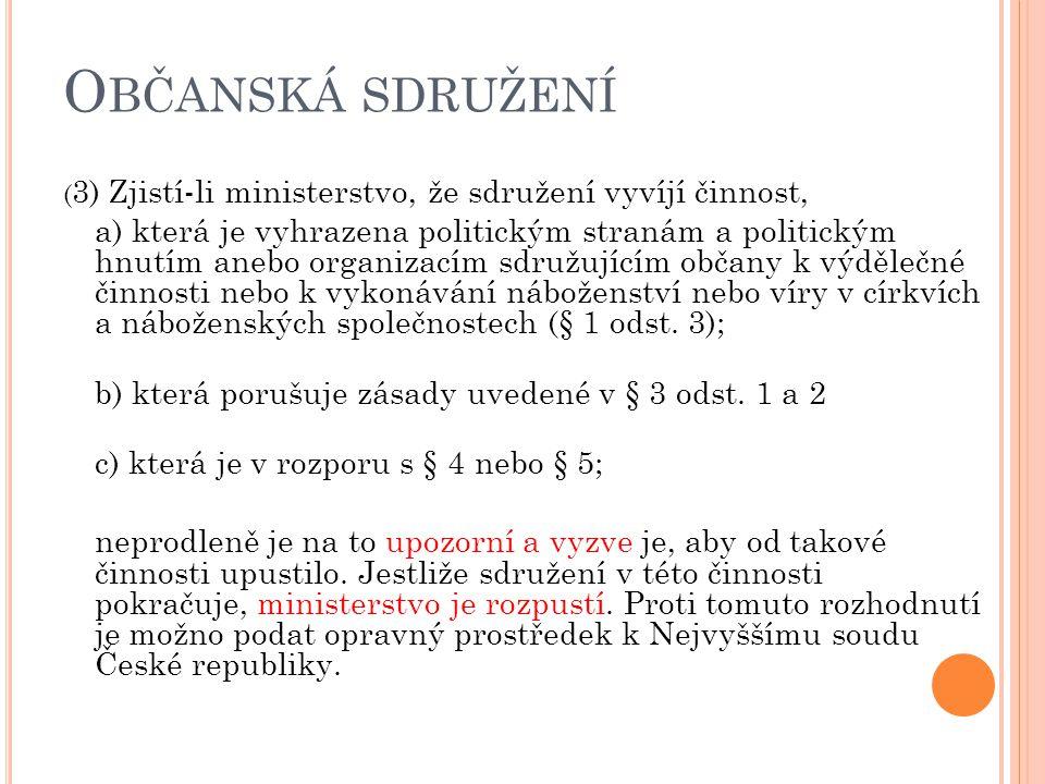 Občanská sdružení (3) Zjistí-li ministerstvo, že sdružení vyvíjí činnost,