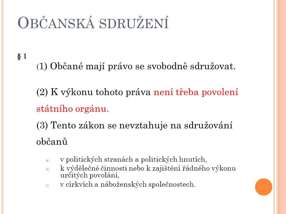 Občanská sdružení § 1 (1) Občané mají právo se svobodně sdružovat.
