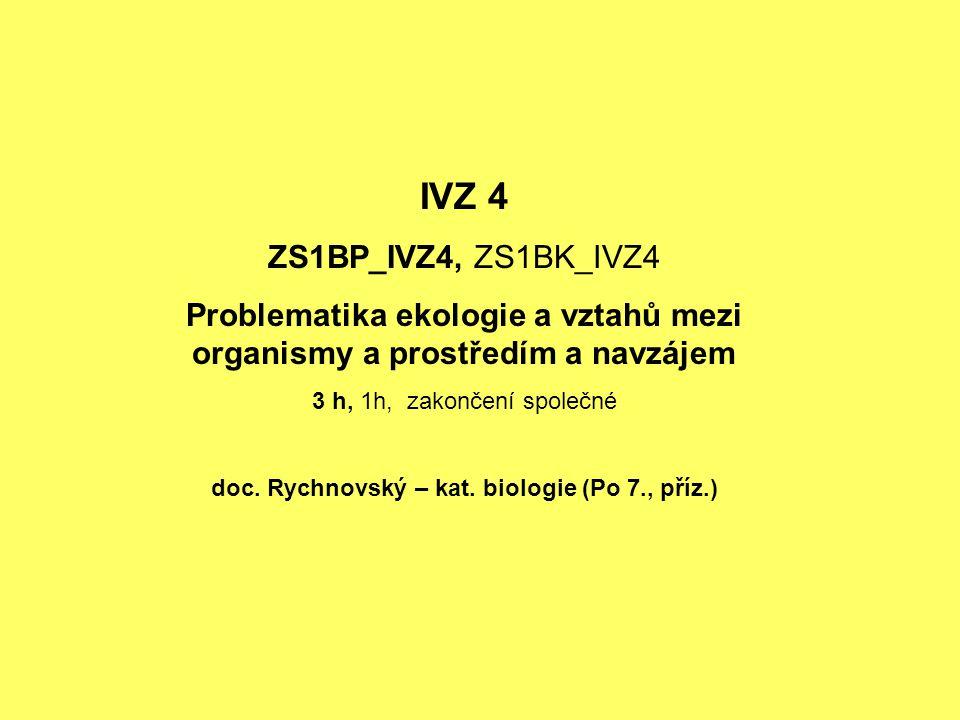 IVZ 4 ZS1BP_IVZ4, ZS1BK_IVZ4. Problematika ekologie a vztahů mezi organismy a prostředím a navzájem.
