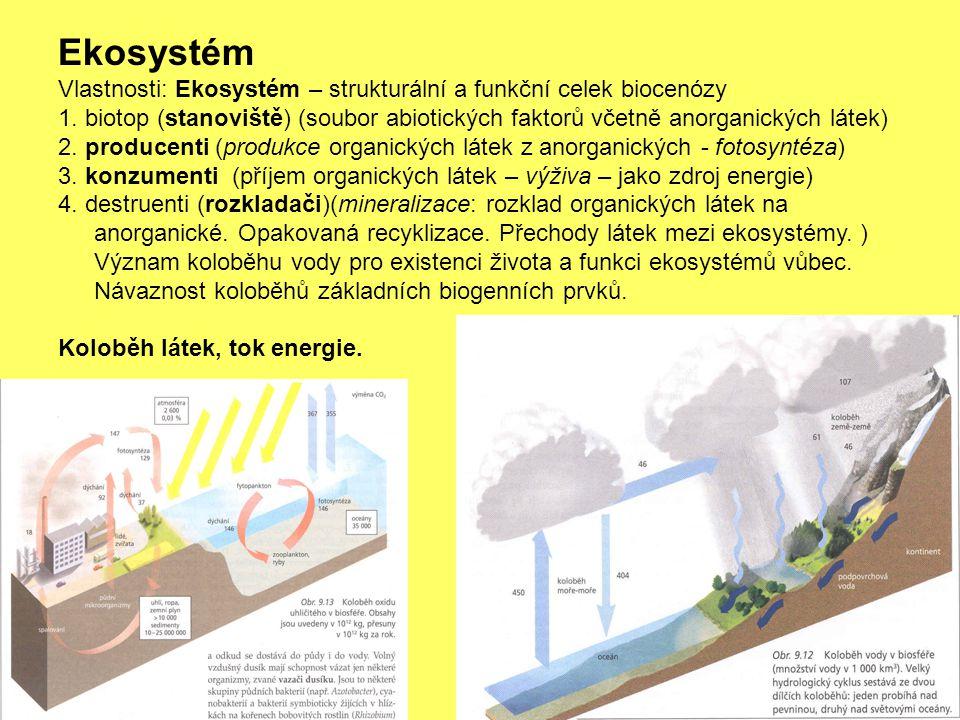 Ekosystém Vlastnosti: Ekosystém – strukturální a funkční celek biocenózy.