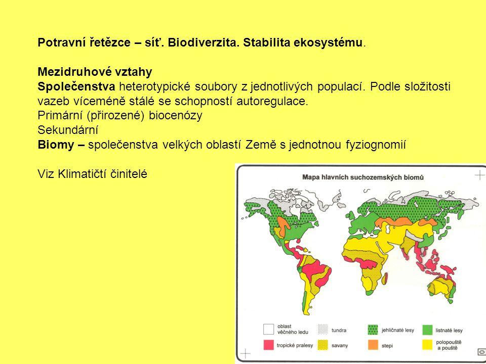 Potravní řetězce – síť. Biodiverzita. Stabilita ekosystému.