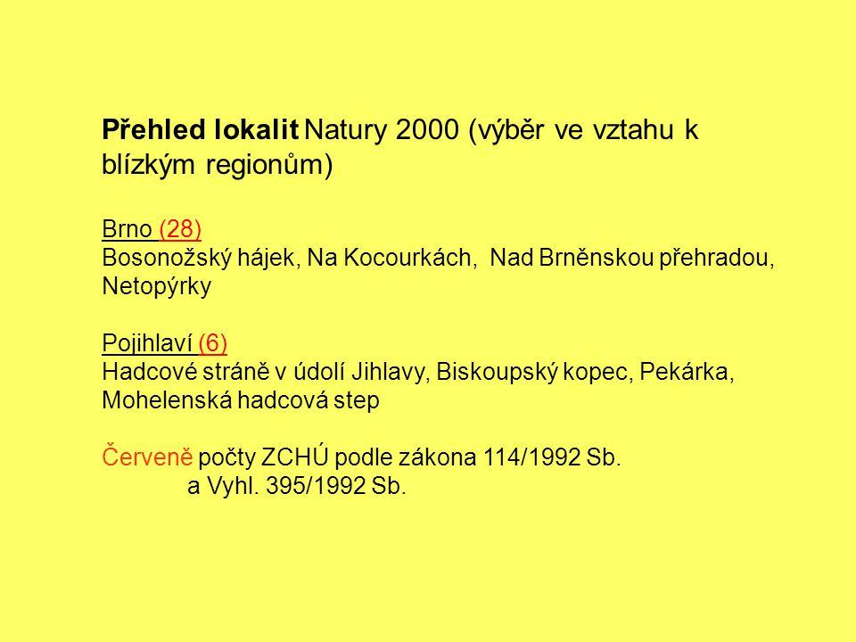Přehled lokalit Natury 2000 (výběr ve vztahu k blízkým regionům)