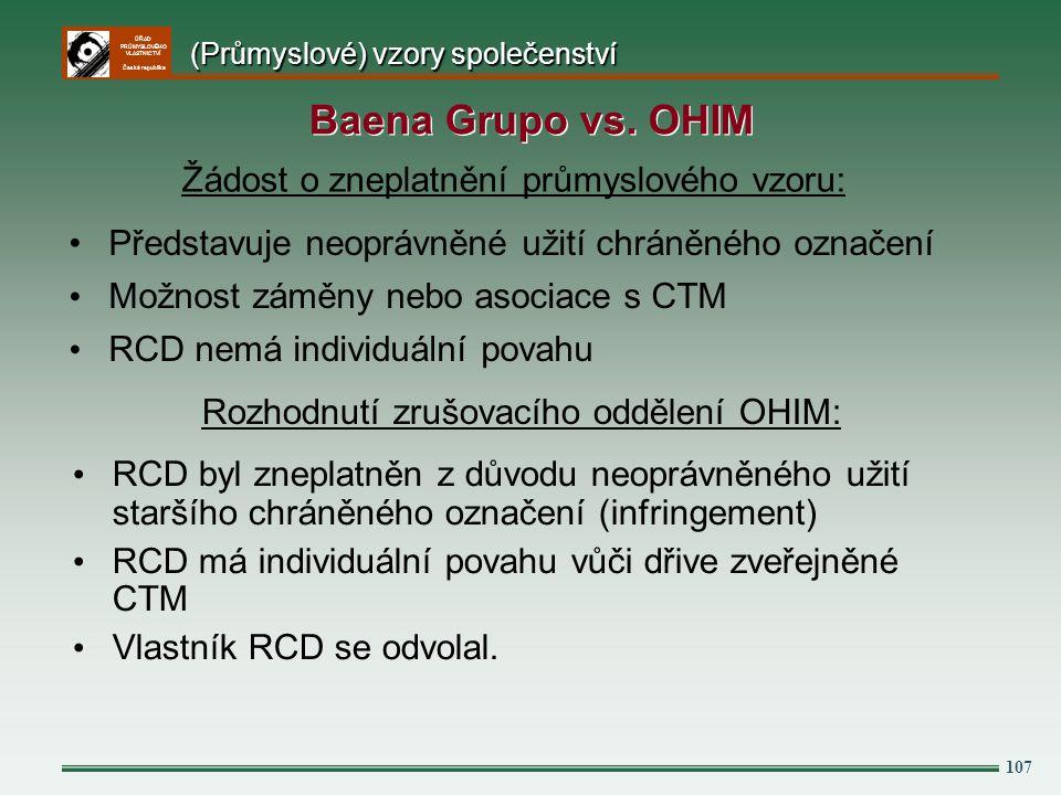 Baena Grupo vs. OHIM Žádost o zneplatnění průmyslového vzoru: