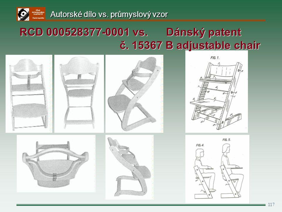 RCD 000528377-0001 vs. Dánský patent č. 15367 B adjustable chair