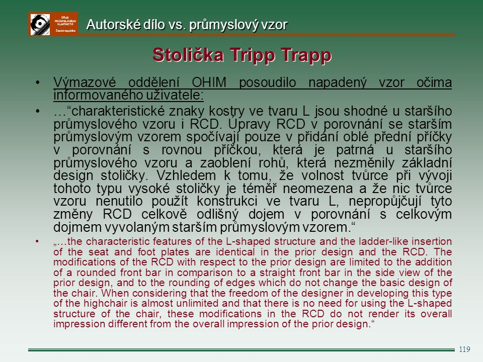 Stolička Tripp Trapp Autorské dílo vs. průmyslový vzor