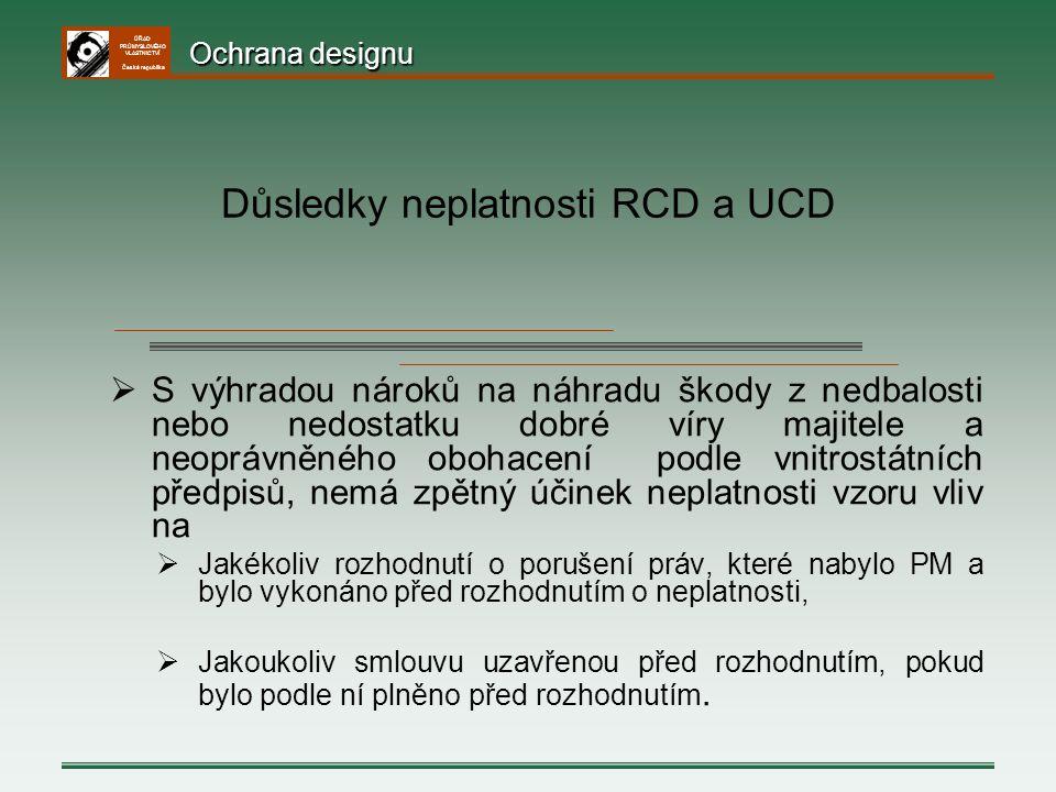 Důsledky neplatnosti RCD a UCD