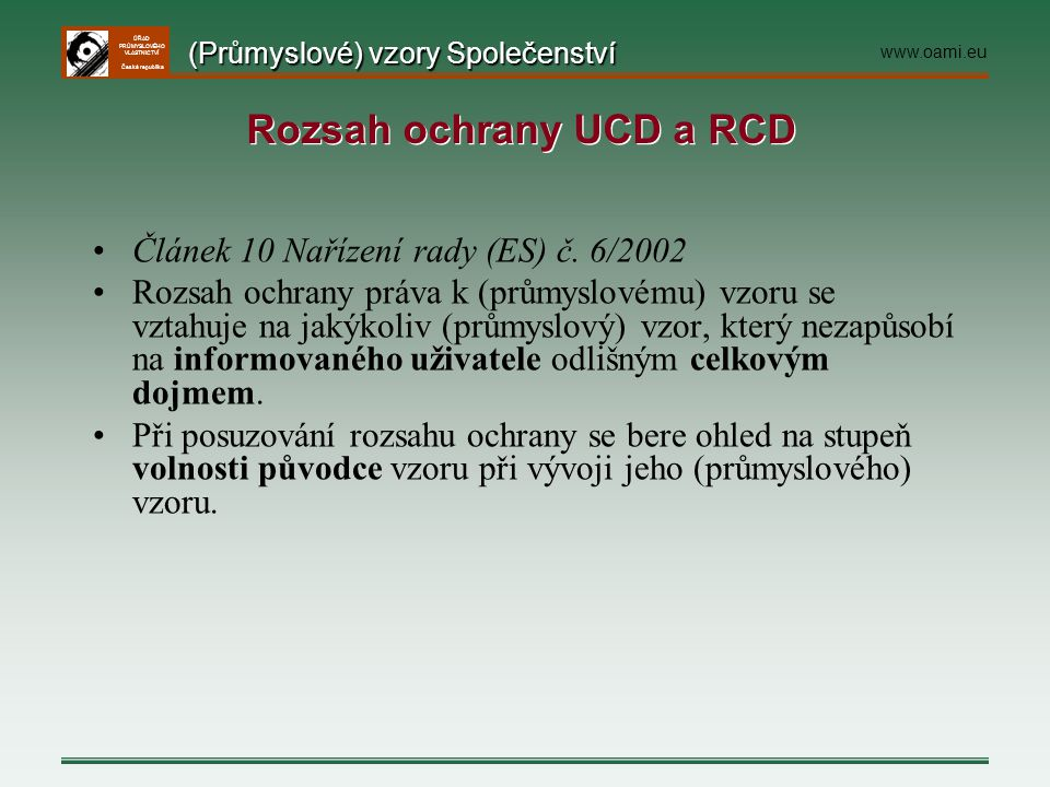 Rozsah ochrany UCD a RCD