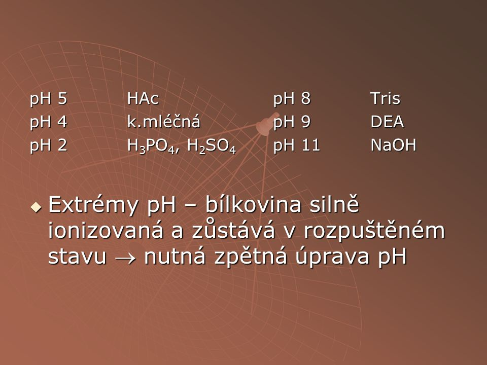 pH 5 HAc pH 8 Tris pH 4 k.mléčná pH 9 DEA. pH 2 H3PO4, H2SO4 pH 11 NaOH.