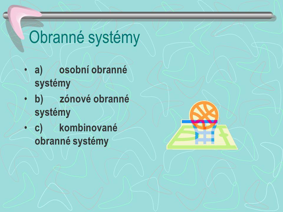 Obranné systémy a) osobní obranné systémy b) zónové obranné systémy