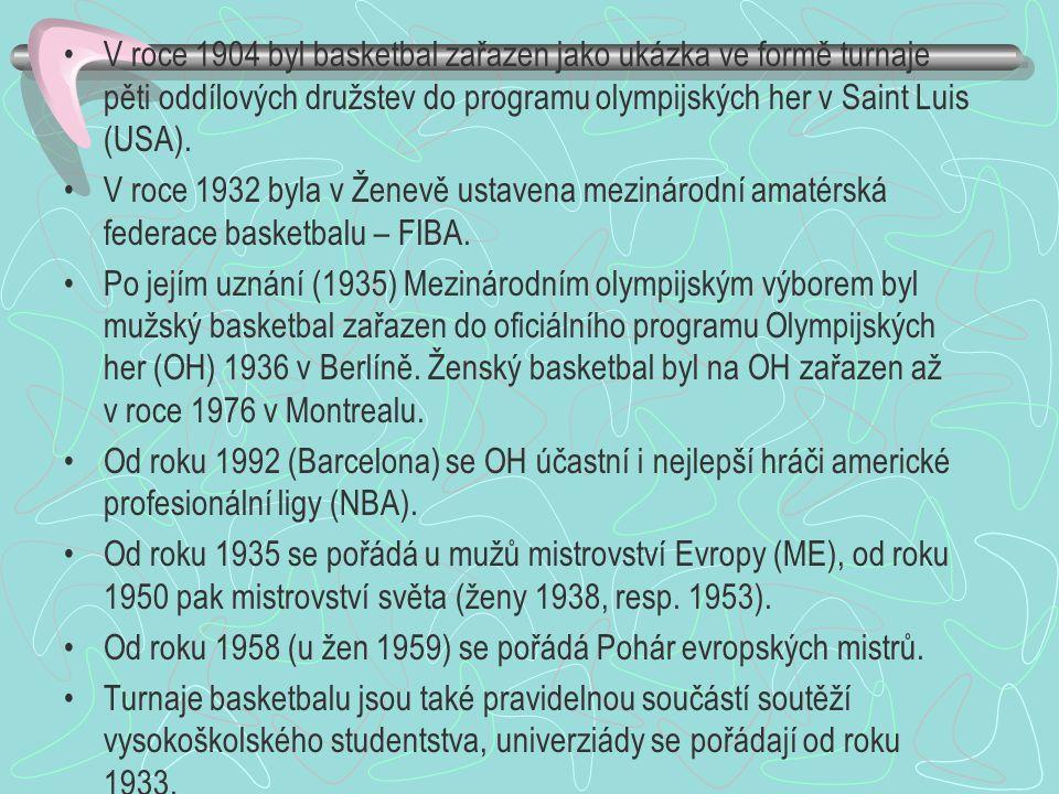 V roce 1904 byl basketbal zařazen jako ukázka ve formě turnaje pěti oddílových družstev do programu olympijských her v Saint Luis (USA).