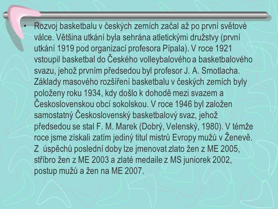 Rozvoj basketbalu v českých zemích začal až po první světové válce