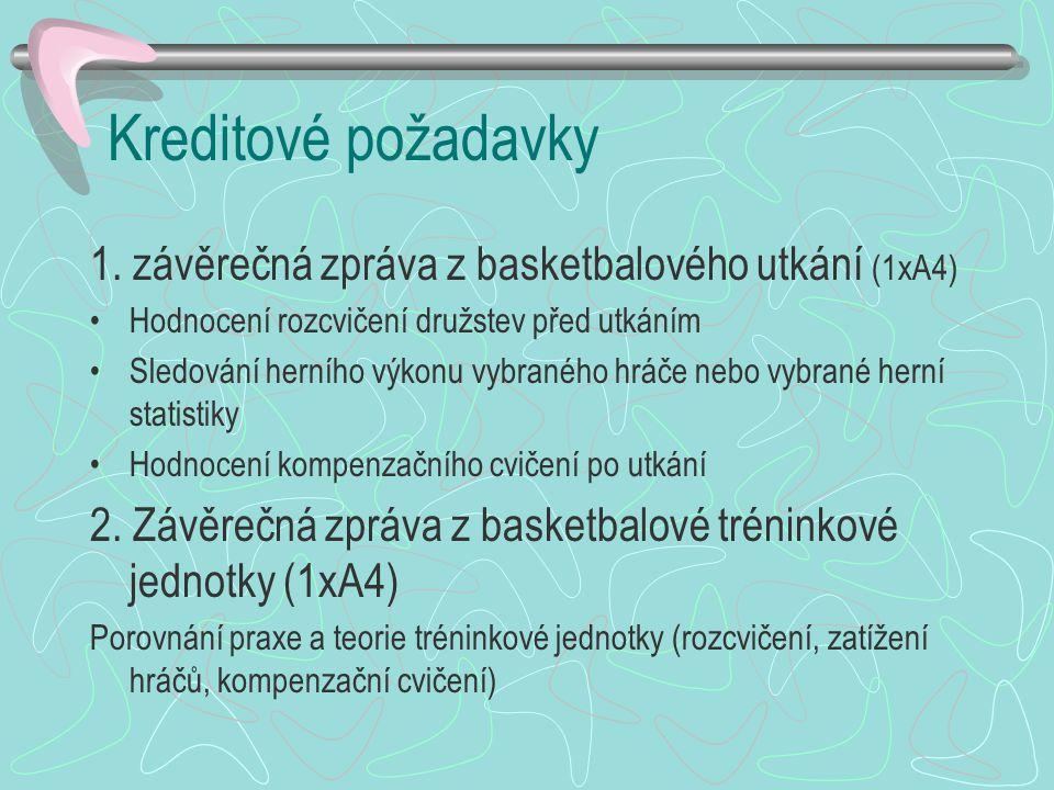 Kreditové požadavky 1. závěrečná zpráva z basketbalového utkání (1xA4)