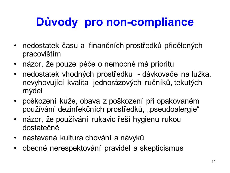 Důvody pro non-compliance