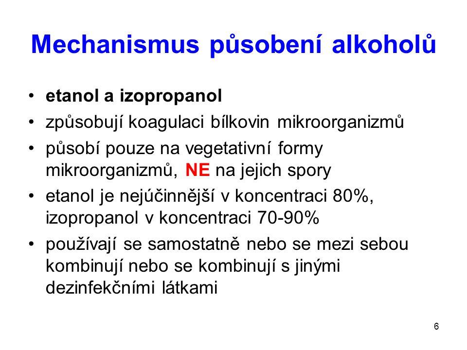 Mechanismus působení alkoholů