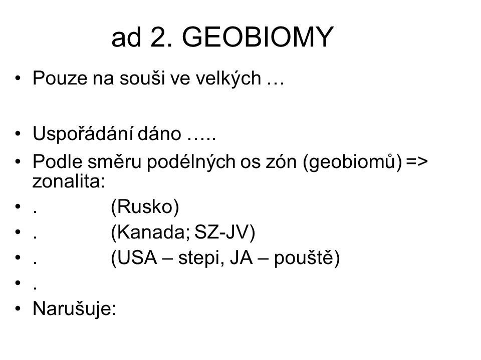 ad 2. GEOBIOMY Pouze na souši ve velkých … Uspořádání dáno …..