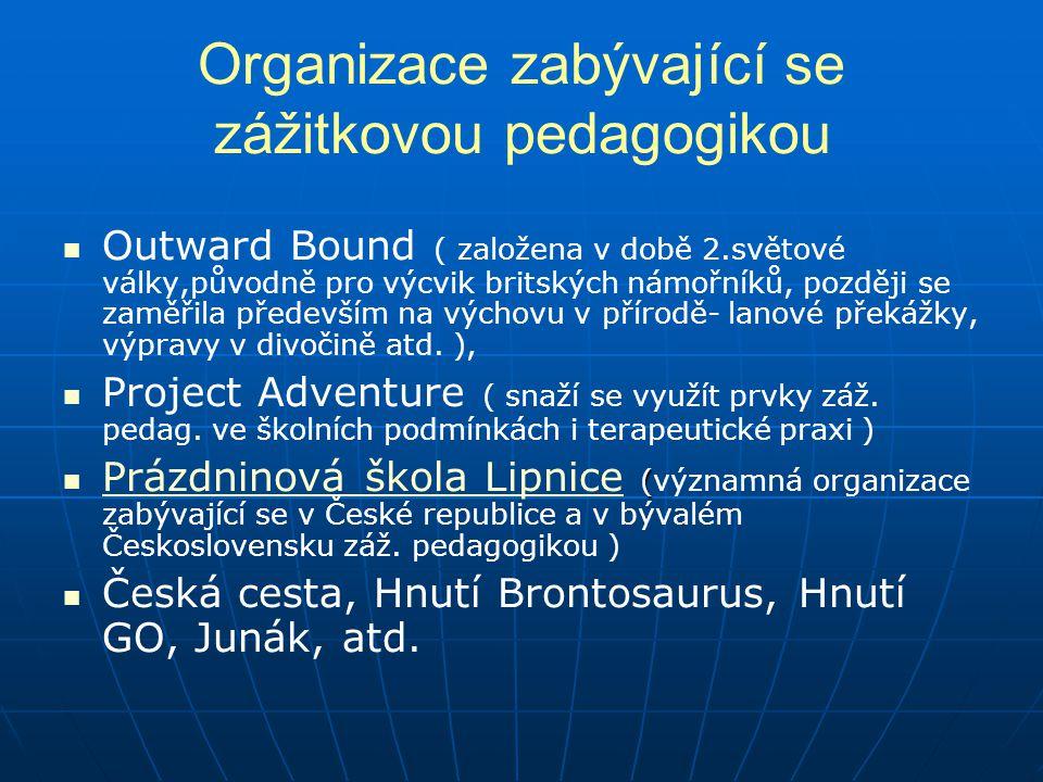 Organizace zabývající se zážitkovou pedagogikou