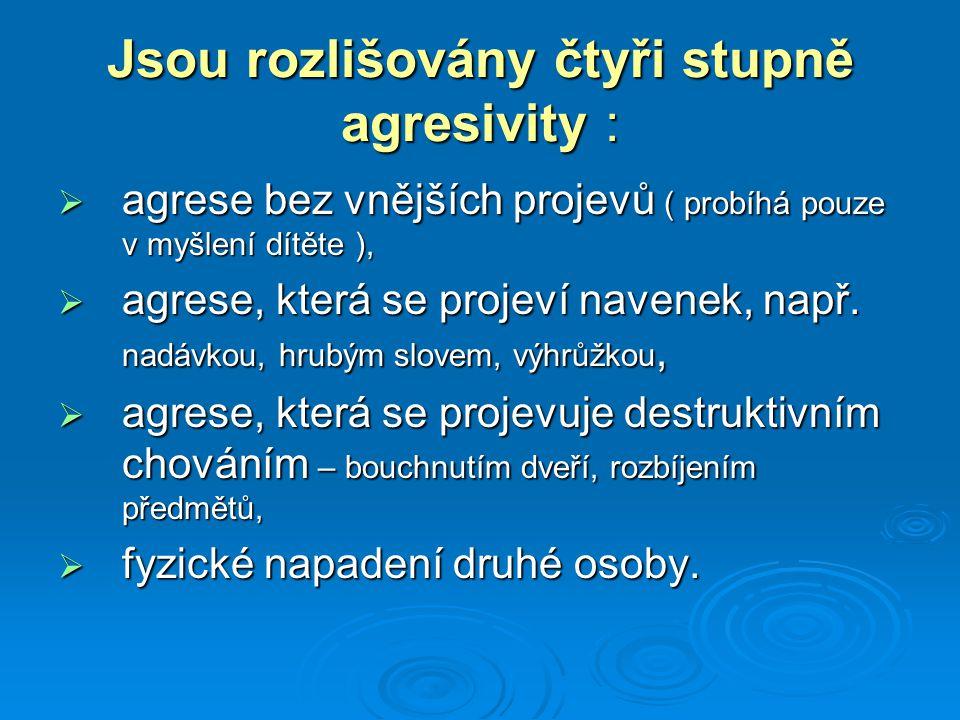 Jsou rozlišovány čtyři stupně agresivity :