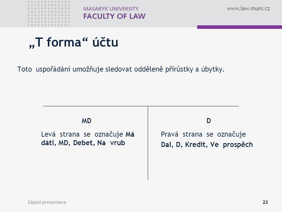"""""""T forma účtu Toto uspořádání umožňuje sledovat odděleně přírůstky a úbytky."""