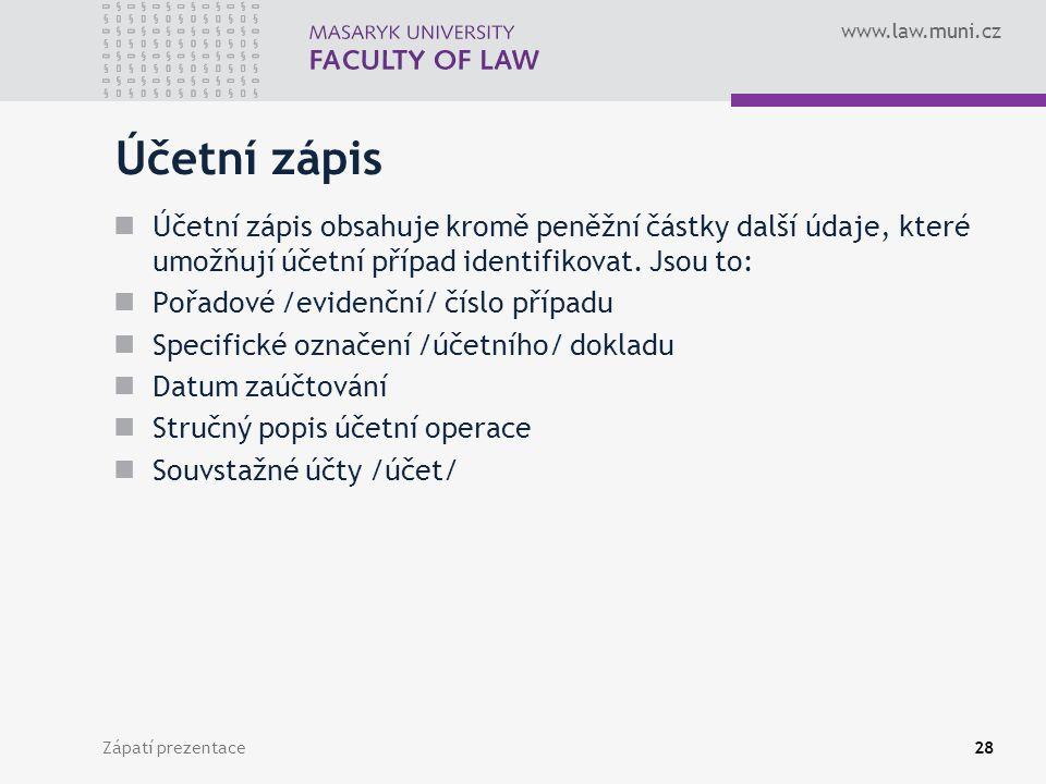 Účetní zápis Účetní zápis obsahuje kromě peněžní částky další údaje, které umožňují účetní případ identifikovat. Jsou to: