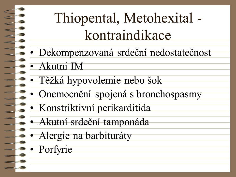 Thiopental, Metohexital - kontraindikace