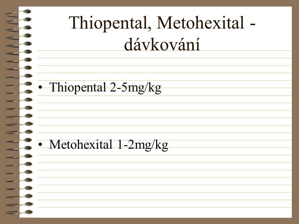 Thiopental, Metohexital - dávkování