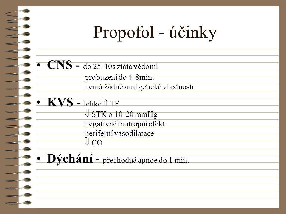 Propofol - účinky CNS - do 25-40s ztáta vědomí probuzení do 4-8min. nemá žádné analgetické vlastnosti.