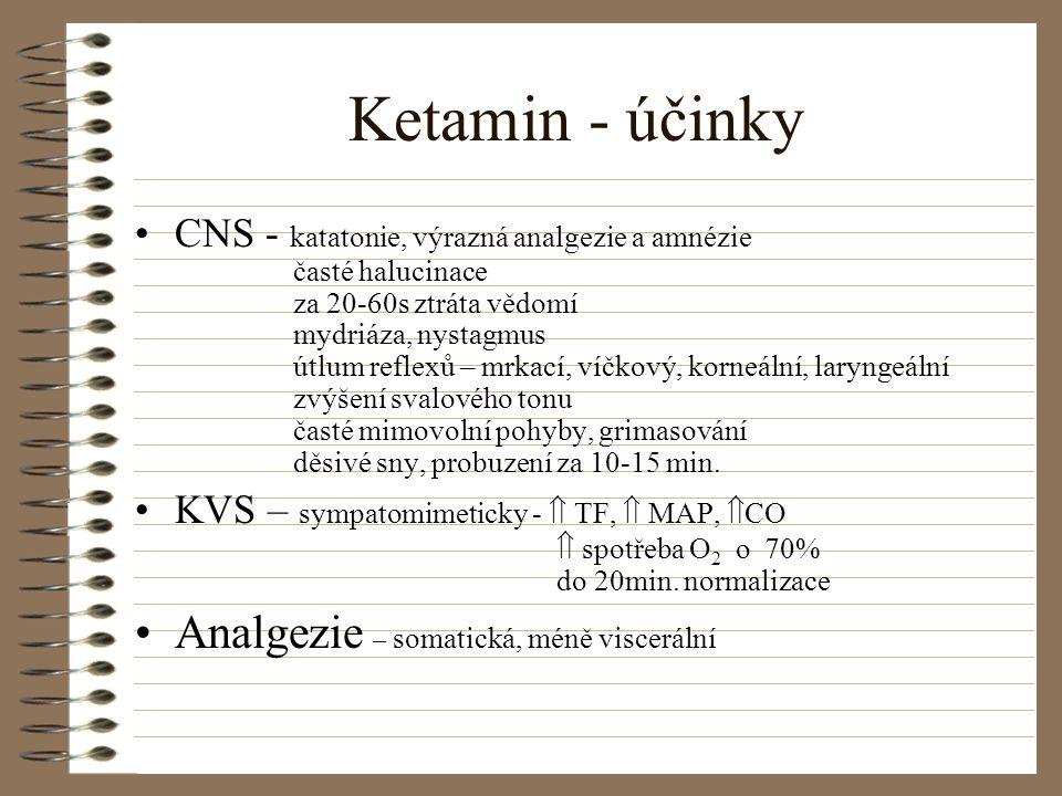 Ketamin - účinky Analgezie – somatická, méně viscerální