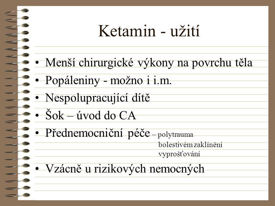 Ketamin - užití Menší chirurgické výkony na povrchu těla