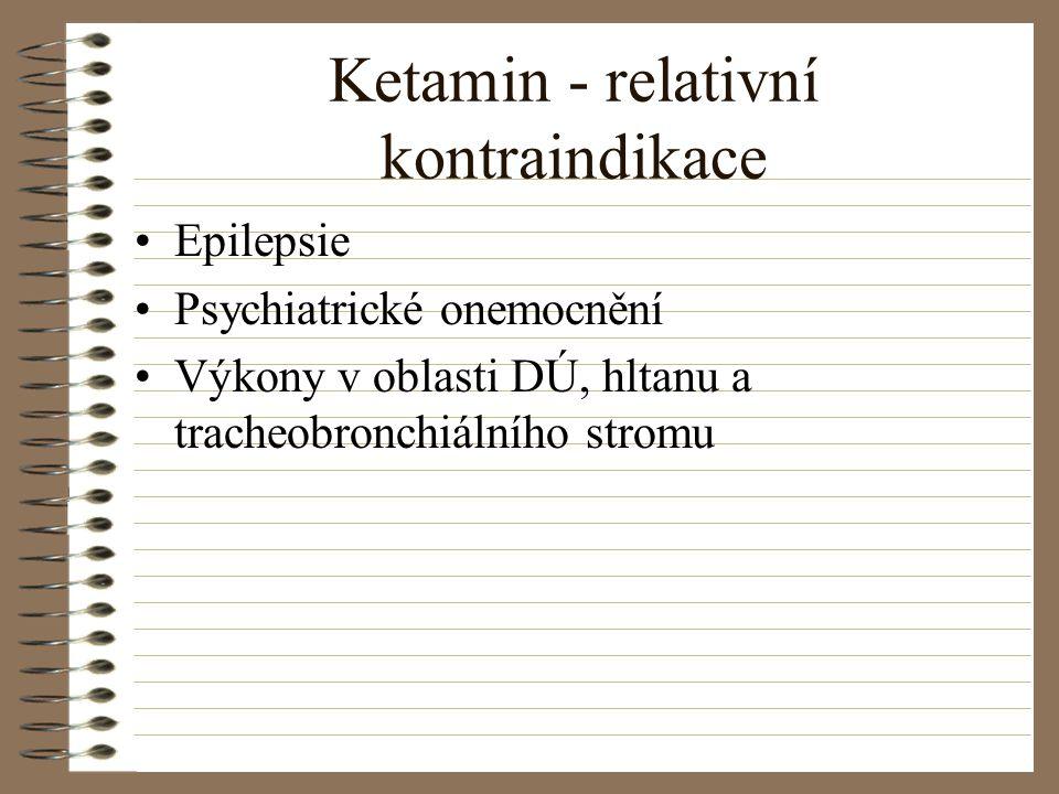 Ketamin - relativní kontraindikace