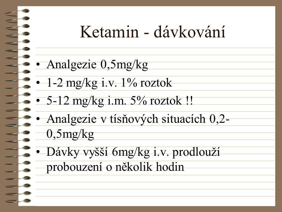 Ketamin - dávkování Analgezie 0,5mg/kg 1-2 mg/kg i.v. 1% roztok