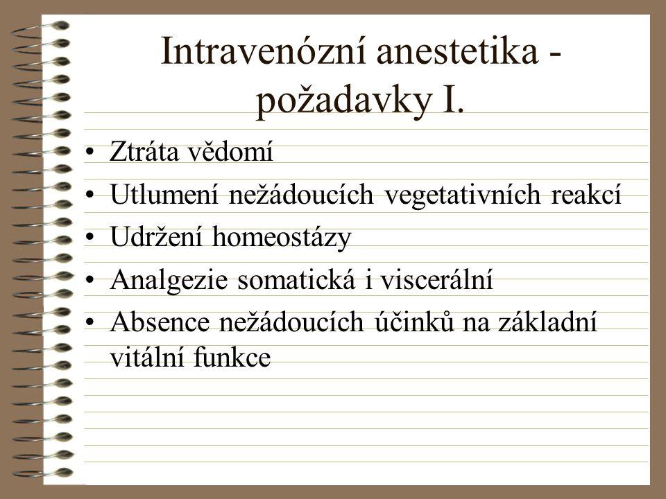 Intravenózní anestetika - požadavky I.