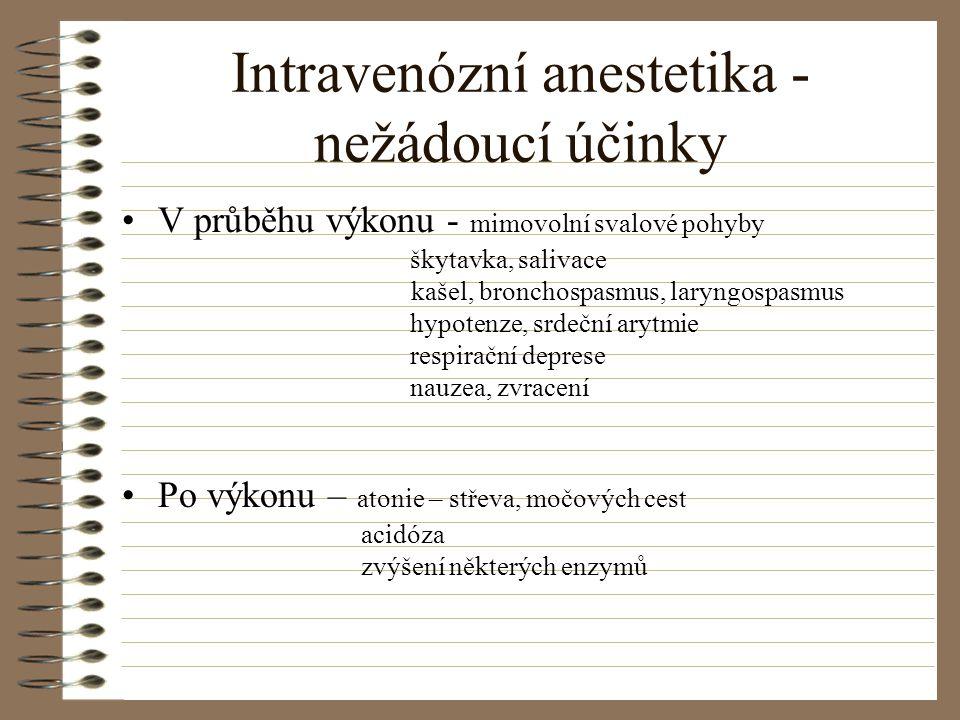 Intravenózní anestetika - nežádoucí účinky