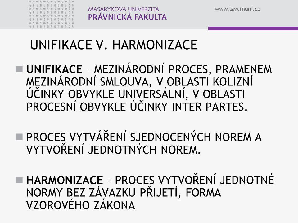UNIFIKACE V. HARMONIZACE