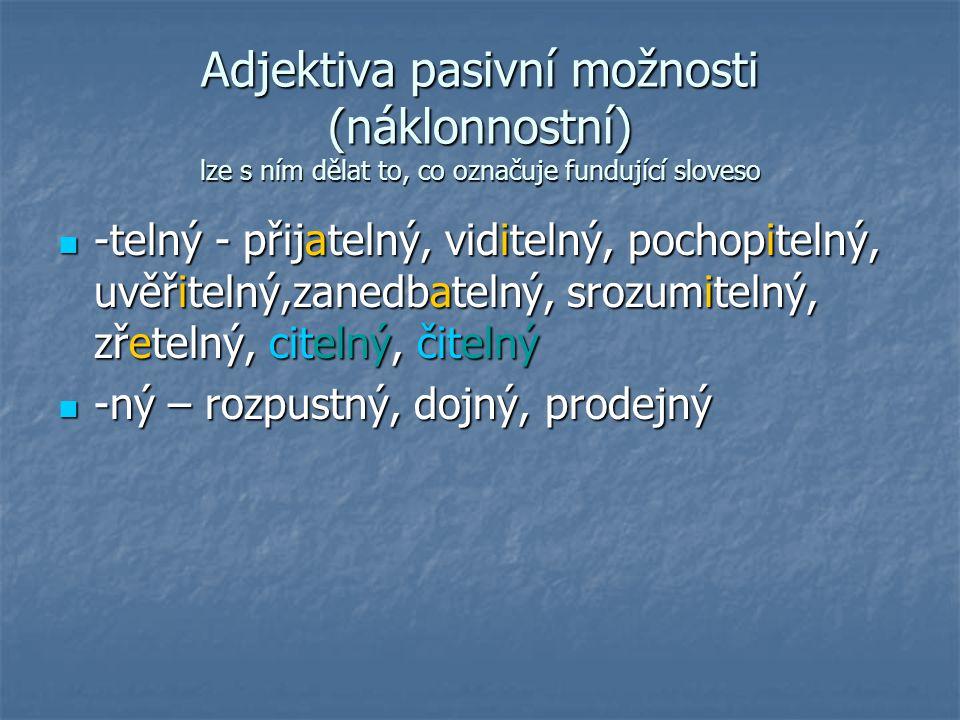 Adjektiva pasivní možnosti (náklonnostní) lze s ním dělat to, co označuje fundující sloveso