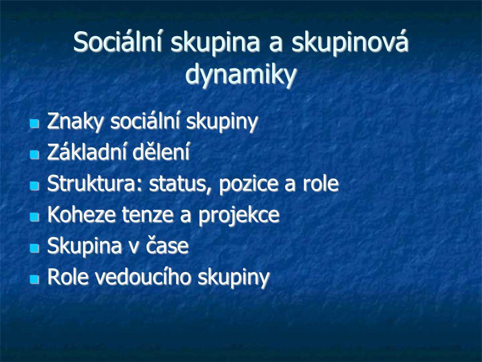 Sociální skupina a skupinová dynamiky