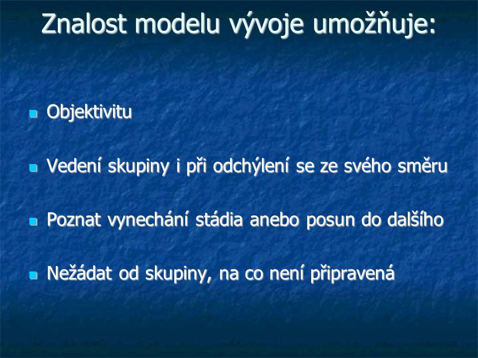 Znalost modelu vývoje umožňuje: