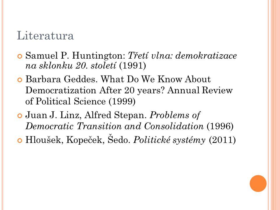 Literatura Samuel P. Huntington: Třetí vlna: demokratizace na sklonku 20. století (1991)