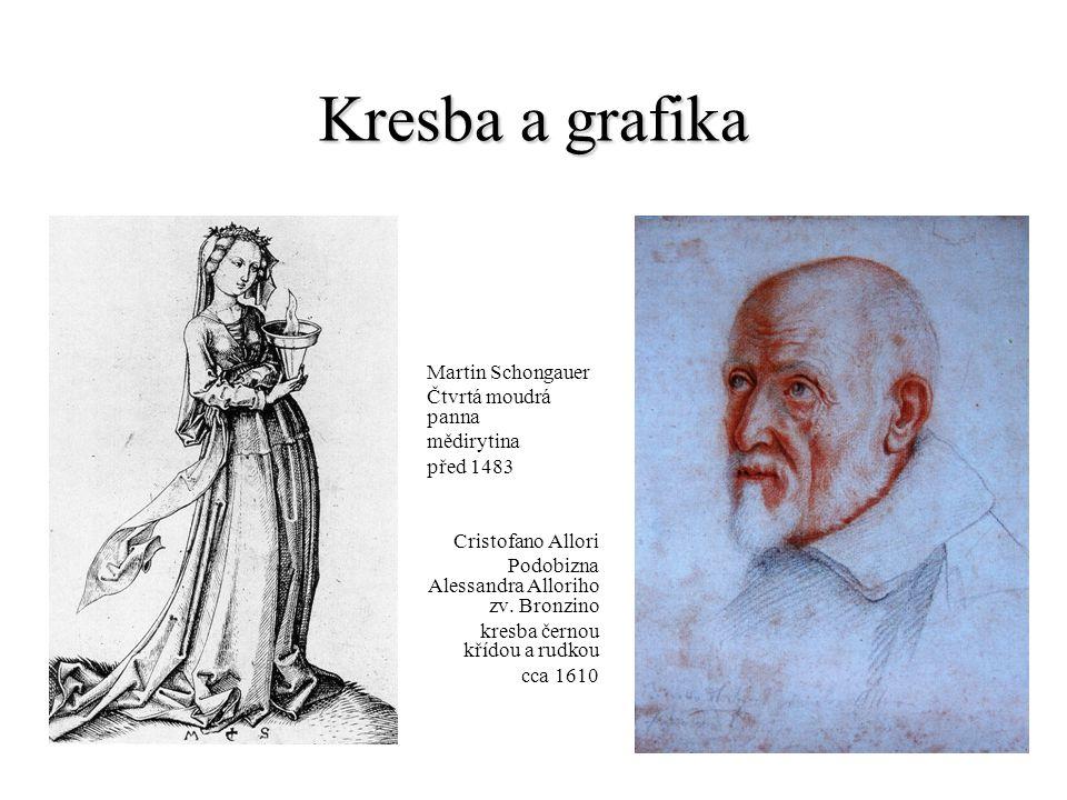 Kresba a grafika Martin Schongauer Čtvrtá moudrá panna mědirytina