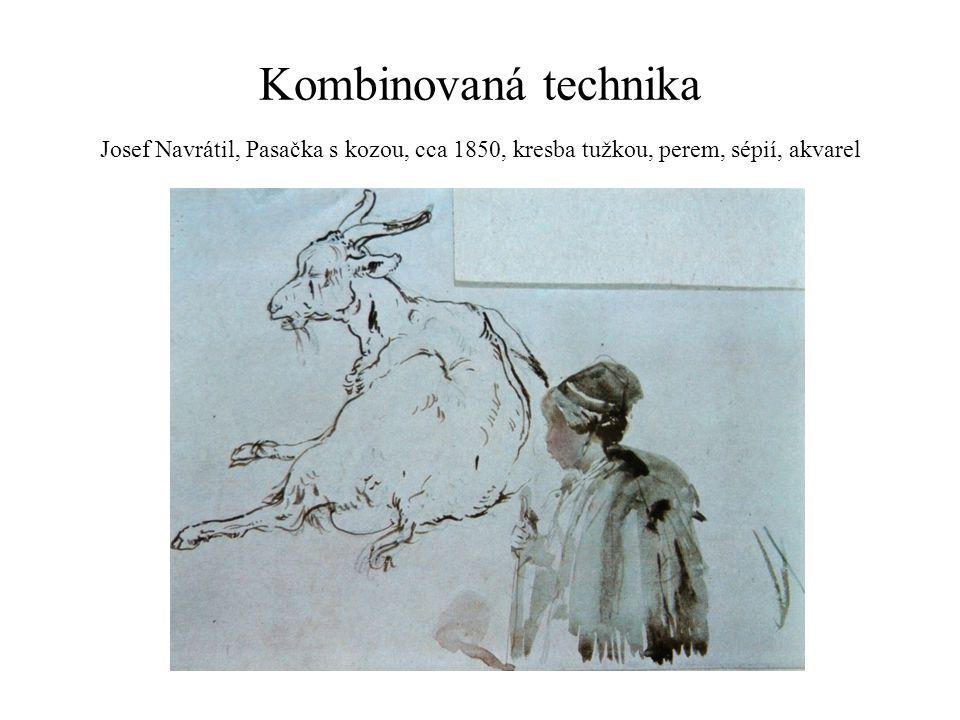 Kombinovaná technika Josef Navrátil, Pasačka s kozou, cca 1850, kresba tužkou, perem, sépií, akvarel