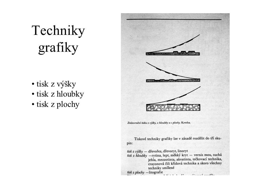 Techniky grafiky tisk z výšky tisk z hloubky tisk z plochy