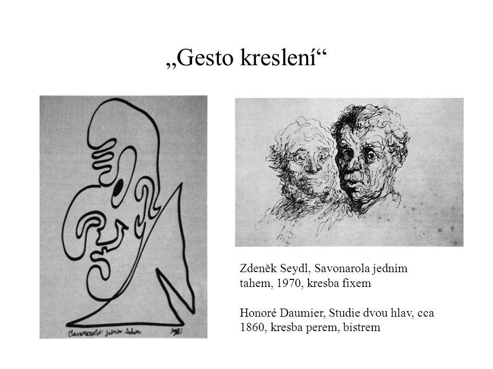 """""""Gesto kreslení Zdeněk Seydl, Savonarola jedním tahem, 1970, kresba fixem."""