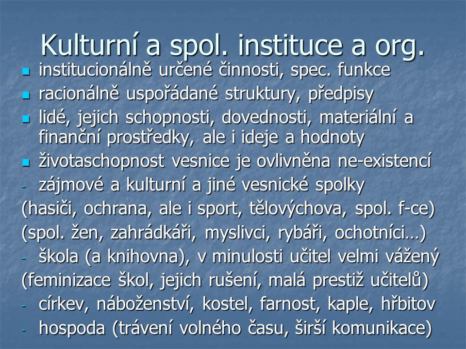 Kulturní a spol. instituce a org.
