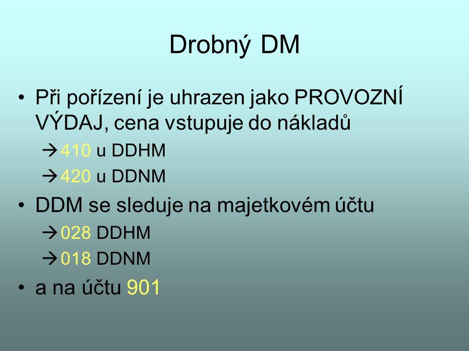 Drobný DM Při pořízení je uhrazen jako PROVOZNÍ VÝDAJ, cena vstupuje do nákladů. 410 u DDHM. 420 u DDNM.