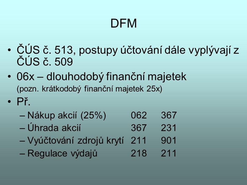 DFM ČÚS č. 513, postupy účtování dále vyplývají z ČÚS č. 509