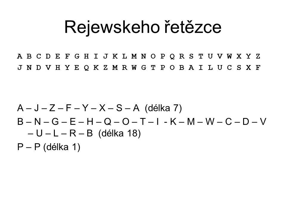 Rejewskeho řetězce A – J – Z – F – Y – X – S – A (délka 7)