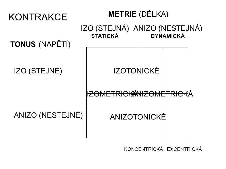 KONTRAKCE METRIE (DÉLKA) IZO (STEJNÁ) ANIZO (NESTEJNÁ) TONUS (NAPĚTÍ)