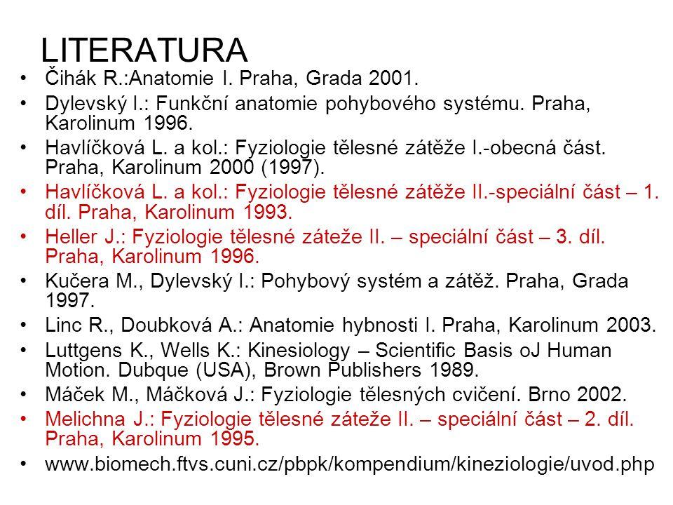 LITERATURA Čihák R.:Anatomie I. Praha, Grada 2001.