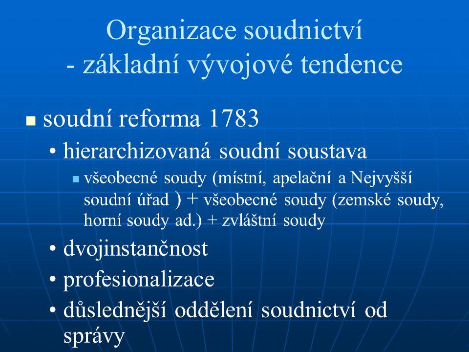 Organizace soudnictví - základní vývojové tendence